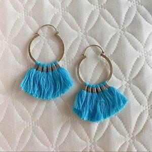 Blue tassel earrings